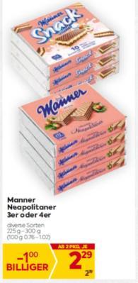 Manner Neapolitaner 3er oder 4er in diversen Sorten um € 2,29