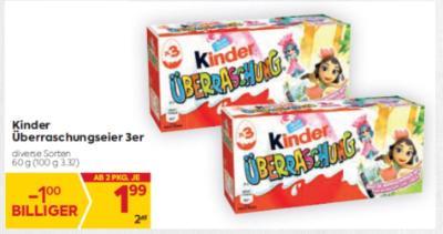 Kinder Überraschungseier 3er in diversen Sorten um € 1,99