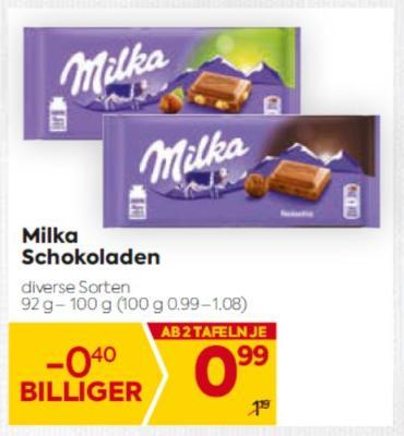 Milka Schokoladen in diversen Sorten um € 0,99