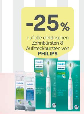 -25% auf alle elektrischen Zahnbürsten & Aufsteckbürsten von PHILIPS