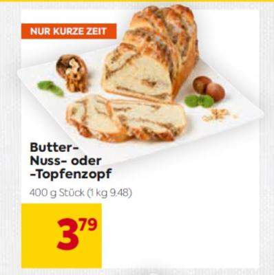 Butter-Nuss- oder -Topfenzopf um € 3,79
